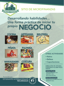 Large street poster advertising services that the Micro Finance site offers to women.